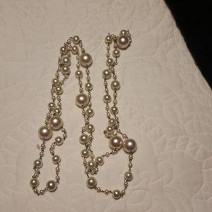 Super long pearl necklace